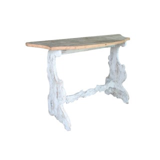Italian Planked Wooden Top Demilune Table