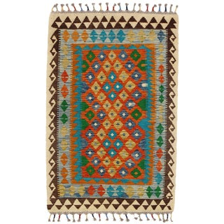 Afghan Kilim Handspun Wool Rug - 3′2″ × 4′9″ For Sale