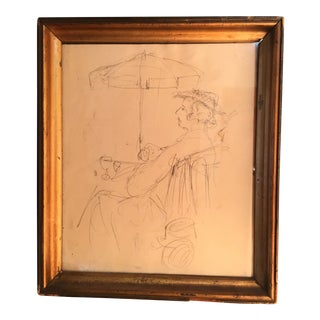 "Vintage ""Le Gentilhomme Au Cafe"" Original Graphite Drawing For Sale"