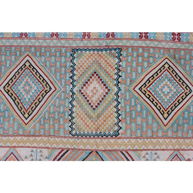 Ivory Keivan Woven Arts, S12-0303, Vintage Mid-Century Embroidered Moroccan Rug - 5′ × 9′ For Sale - Image 8 of 10