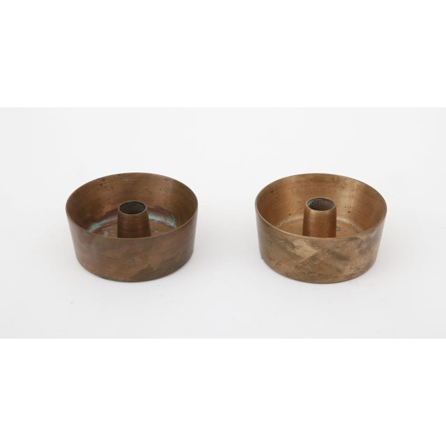 Mid-Century Brass Candle Holders - A Pair For Sale - Image 4 of 4