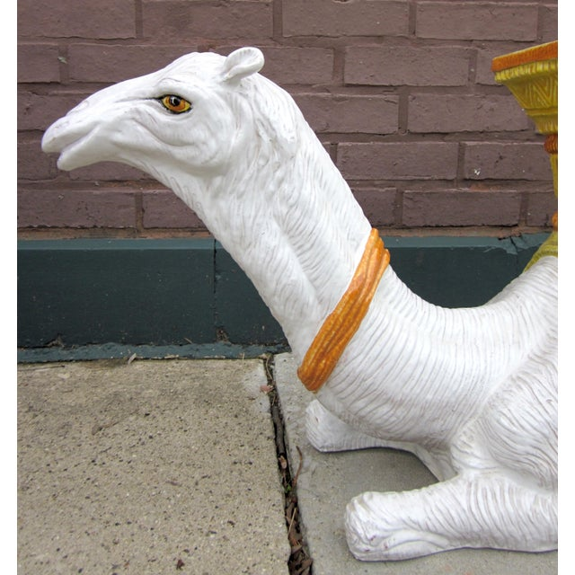1970s Vintage Italian Majolica Glazed Terra Cotta Ceramic White and Yellow Hand Painted Camel Statue Garden Seat For Sale - Image 9 of 11