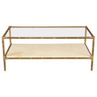 1950s Brass Faux Bamboo Two-Tiered Coffee Table With Parchment Shelf For Sale