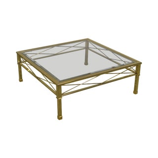 Brass & Glass Vintage Square Directoire Style Coffee Table For Sale