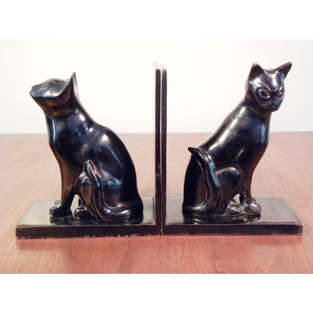 Vintage Mid Century Black Cat Bookends - Pair - Image 4 of 7