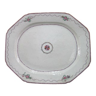 "Antique Chinese Export Porcelain XL 20"" Serving Dish Platter Pink Flowers For Sale"