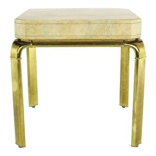 John Widdicomb Cream Goatskin Side Table On Canted Brass Legs For Sale