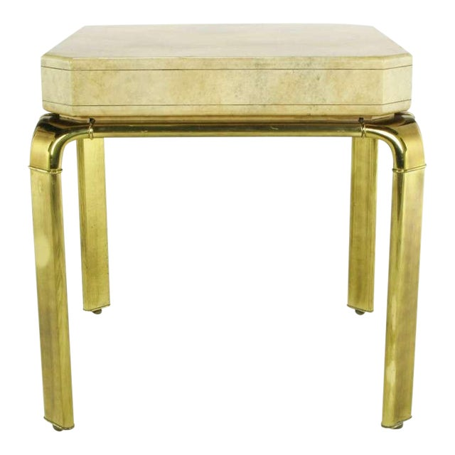 John Widdicomb Cream Goatskin Side Table On Canted Brass Legs For Sale