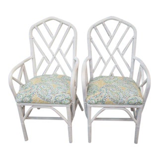 Rattan Chippendale Arm Chairs- A Pair For Sale