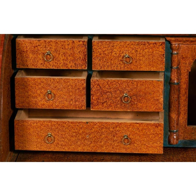 Wood 19th Century Biedermeier Continental Faux Bois Painted Pine Cylinder Secretary Bookcase For Sale - Image 7 of 12
