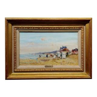 Gaston Sebire -Blonville-Sur-Mer Beach Scene North of France-Oil Painting For Sale