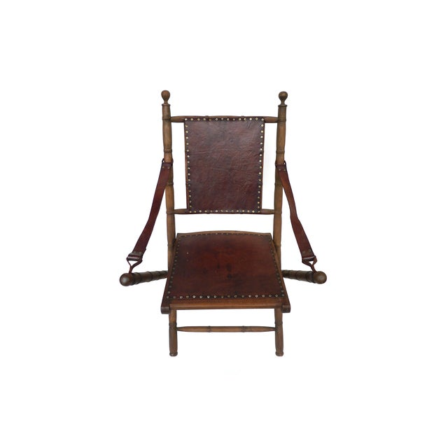 Campaign Style Leather & Ash Folding Chairs - Pair - Image 6 of 10