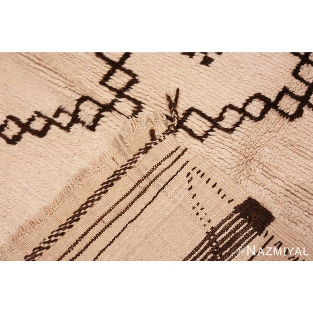 Mid 20th Century Vintage Moroccan Ivory and Brown Rug - 4′6″ × 7′ For Sale - Image 5 of 7