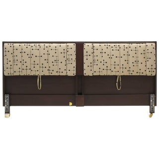King Headboard by Edward Wormley for Dunbar Padded With Fold Down Arms For Sale