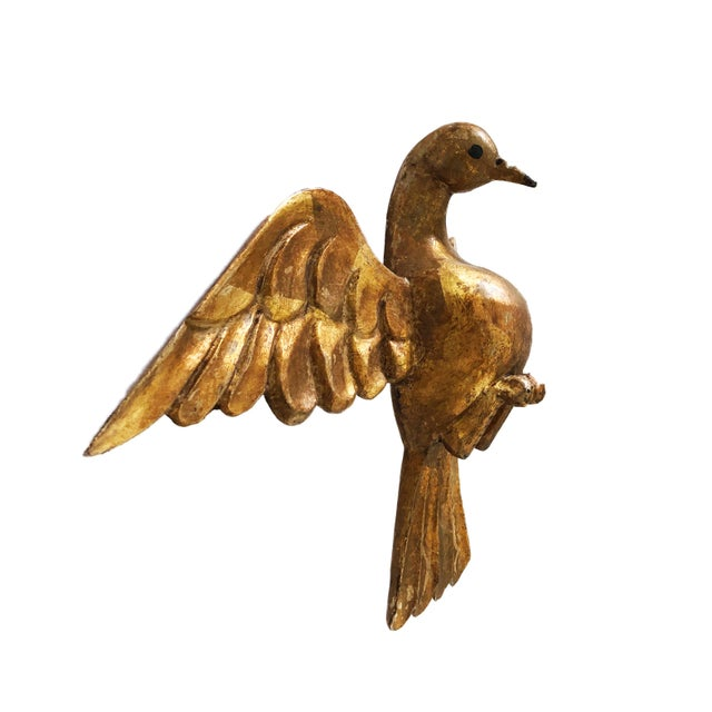 "1950s Lg Old Santos Wooden Holly Spirit Dove/Bird 9""h by 13.5"" W For Sale - Image 5 of 9"