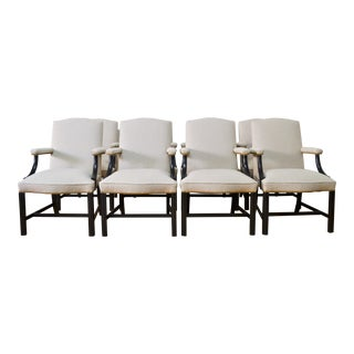 Chippendale Armchairs by Kittinger in Oscar De La Renta Wool For Sale
