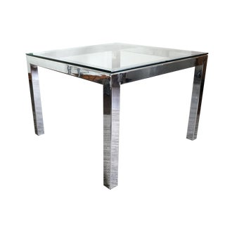 1970s Modern Chrome and Glass Coffee Table For Sale