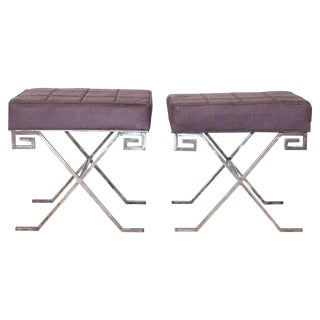 20th Century Silver Iron Benches After Jean Michel Frank - a Pair For Sale