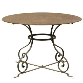 Mid-20th Century French Round Patio Dining Table With Scrolled Legs and Patina For Sale