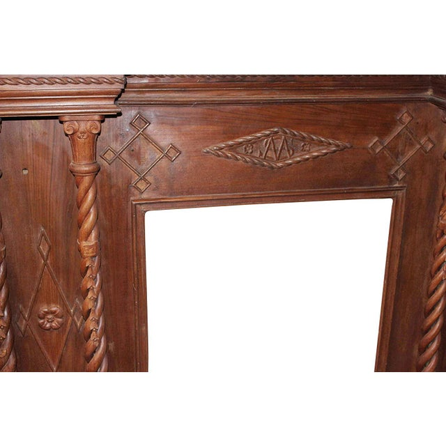 Antique Indian Hand-Carved Fireplace Console For Sale In Miami - Image 6 of 7