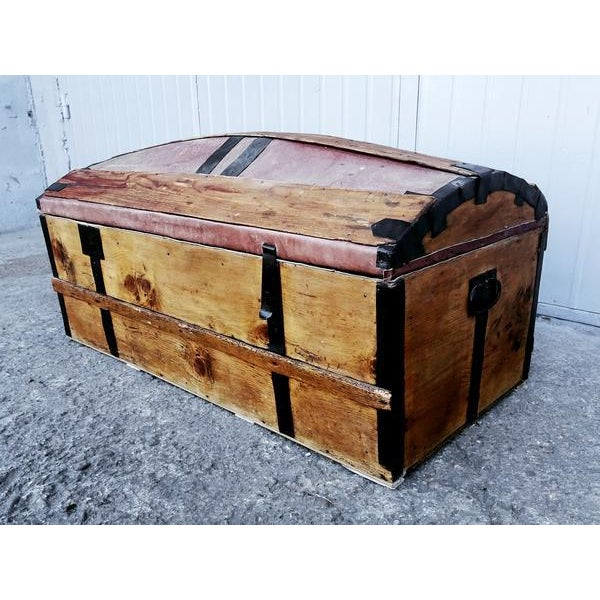 French Solid French Storage Trunk With Leather Inserts For Sale - Image 3 of 9