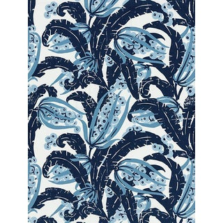 Sample, Scalamandre Tropique, Marine Fabric For Sale