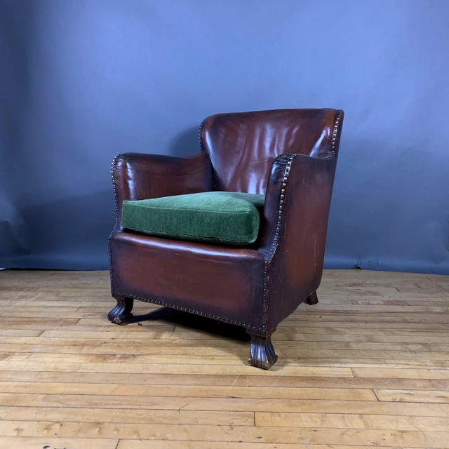 Art Deco Early 1940s Danish Cognac Leather Club Chair, New Mohair For Sale - Image 3 of 10