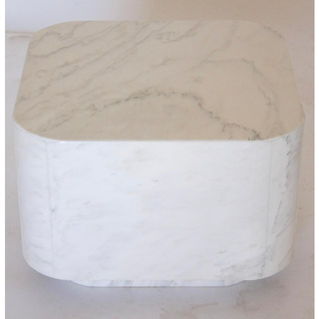 Minimalism White Marble Plinth Base Table For Sale - Image 3 of 7