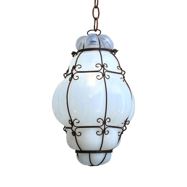 Metal Three Caged Glass Italian Pendants For Sale - Image 7 of 13