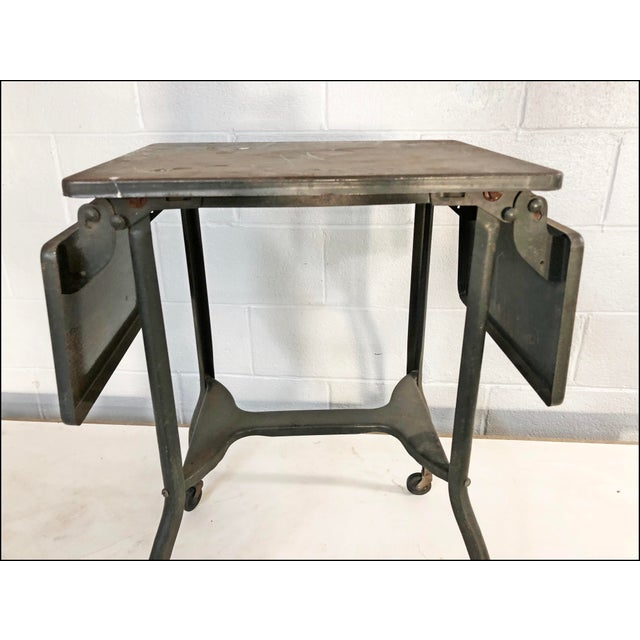 Vintage Industrial Green Typewriter Table with Double Drop Leaf For Sale - Image 5 of 13