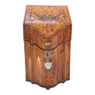 Antique English Burl-Wood Knife Box For Sale