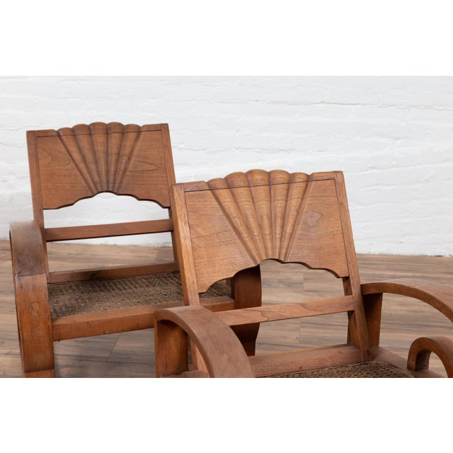 Teak Wood Country Chairs From Madura With Rattan Seats and Looping Arms - a Pair For Sale - Image 4 of 13