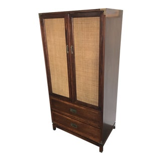 1960s Campaign Dresser/ Armoire Jack Cartwright Founders Mid-Century Danish Modern Cane For Sale