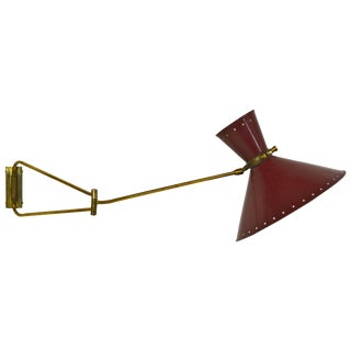 French Swing Arm Wall Lamp by Rene Mathieu, Circa 1950s For Sale