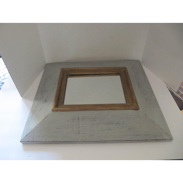 Distressed Grey & Gold Wall Mirror For Sale - Image 6 of 7