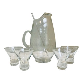 Mid Century Modern Acid Etched Schooner Glass Pitcher & Ball Bottom Glasses - 6 Pieces For Sale