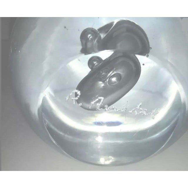 Transparent Vintage Murano Large Glass Ball Paperweight Signed by R. Anatra Renato Anatra For Sale - Image 8 of 13