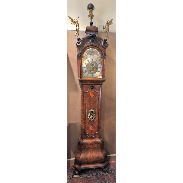 Antique 18th Century Dutch Marquetry Tall Case Clock by Maker, J.P. Kroese. J.P. Kroese was an Amsterdam Clock-Maker in...