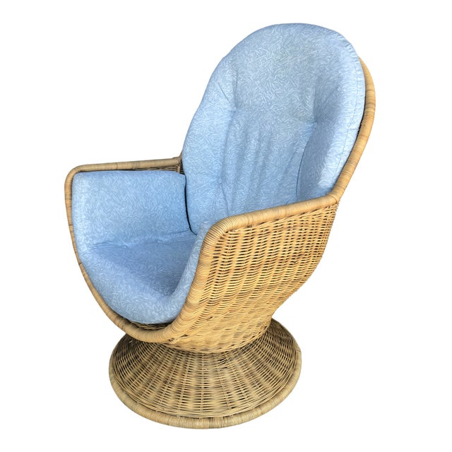 Phenomenal Vintage Wicker Swivel Egg Chair Home Interior And Landscaping Synyenasavecom