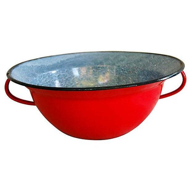 Red 1940s European Enamelware Harvest Bowl - Image 4 of 7