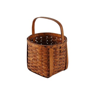 Early 1900s Split Wood Gathering Basket W/ Handle