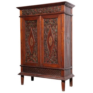 Antique Javanese Teakwood Cabinet with Detailed Carvings, Early 20th Century For Sale