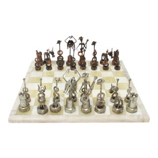 Brutalist Metal Chess Pieces with Onyx Chess Board - 33 Pieces For Sale