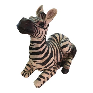Vintage Resting Zebra Figure For Sale