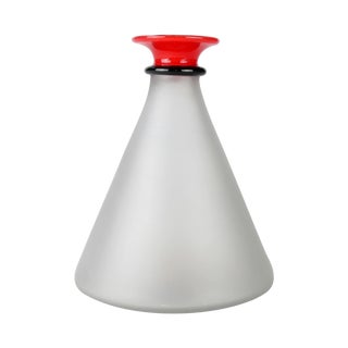 Hand-Blown Frosted Glass Decanter For Sale