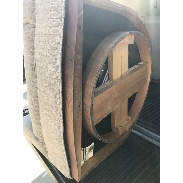 Mid-Century Modern Swivel Club Chairs Wood Plinth Base - a Pair For Sale - Image 10 of 13