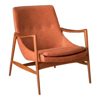 Vintage Leather and Teak Lounge Chair by Rolf Rastad & Adolf Relling For Sale
