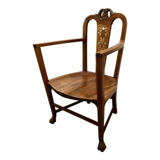 Mid-Century Wood Carved With Mother-Of-Pearl Inlay Accent Chair For Sale