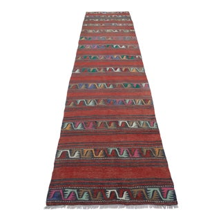"Vintage Turkish Red Kilim Runner-3'4'x11'10"" For Sale"
