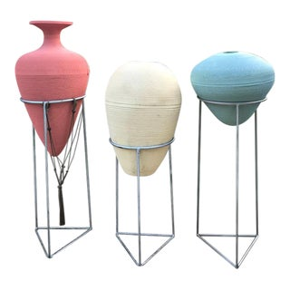 Flute Inc. Modern Corrugated Vessels With Iron Stands- 3pc Set